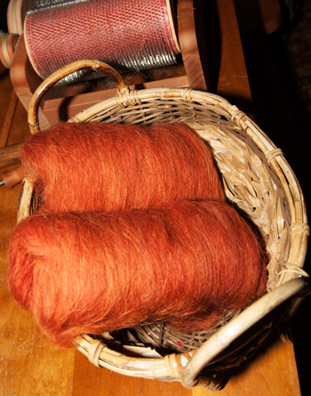 Carded and vegetal dyed wool at Dot Ranch